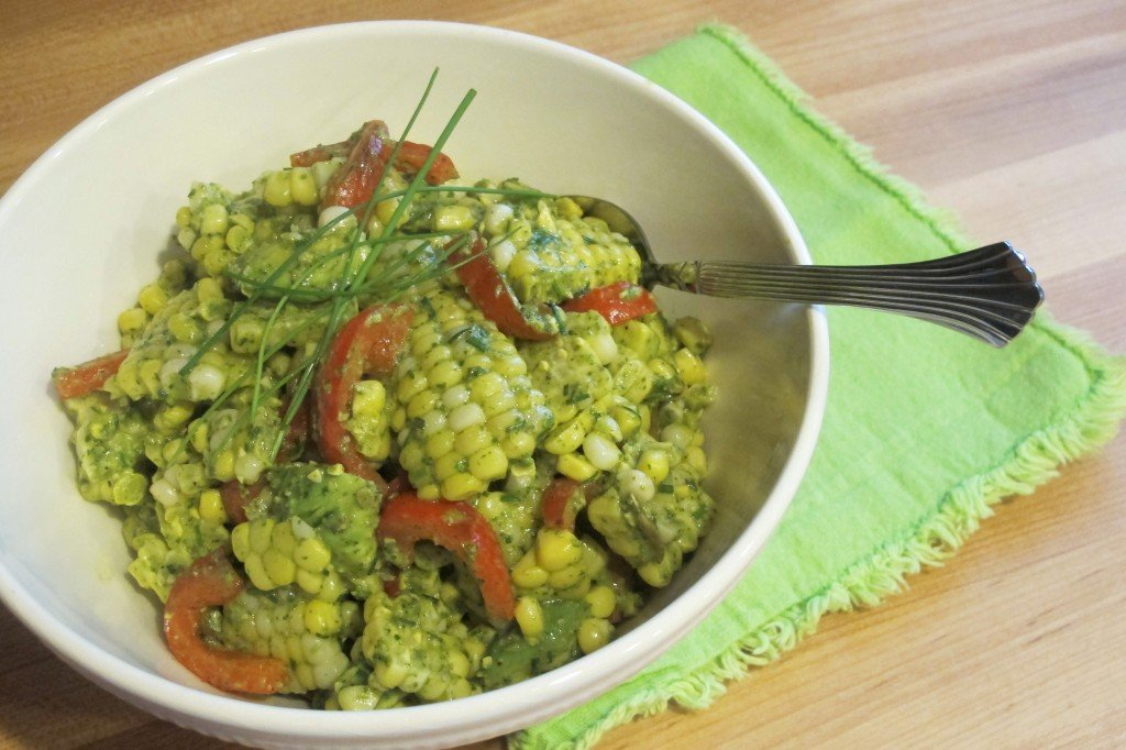 Cilantro pesto adds so much fresh flavor to this Corn and Avocado Salad. It's a great way to use leftover cooked sweet corn!