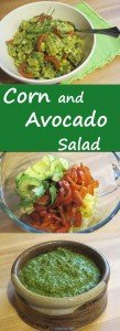This fresh and simple Corn and Avocado Salad with brighten up any meal, whether you serve it with simple grilled chicken or burgers. It's a crowd-pleaser too, so take it to your next neighborhood grill-out or family get-together. It is dressed with cilantro pesto, which is quick to make and adds so much fresh flavor. The avocado and red pepper add a big boost of healthful nutrients.