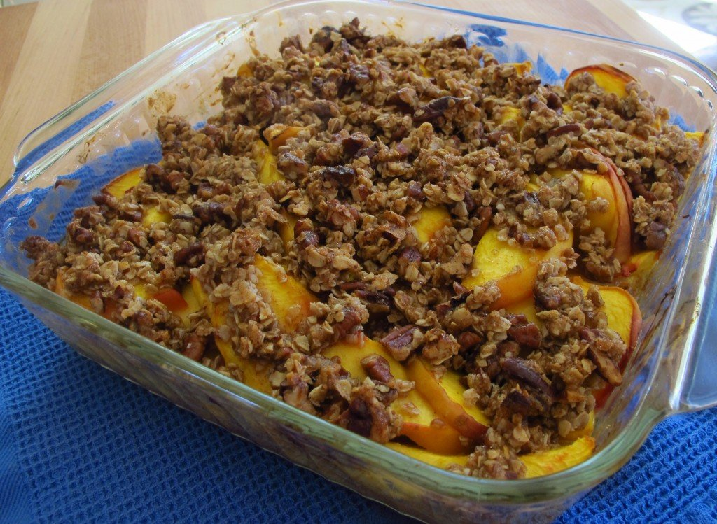Nothing says summer like Peach Pecan Crunch, my version of peach crisp. Crunchy, sweet topping and fresh peaches are a match made in heaven.