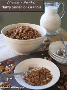 Kids and adults alike will love this crunchy Nutty Cinnamon Granola, which tastes great with milk for breakfast or sprinkled over your favorite yogurt for a healthy treat.