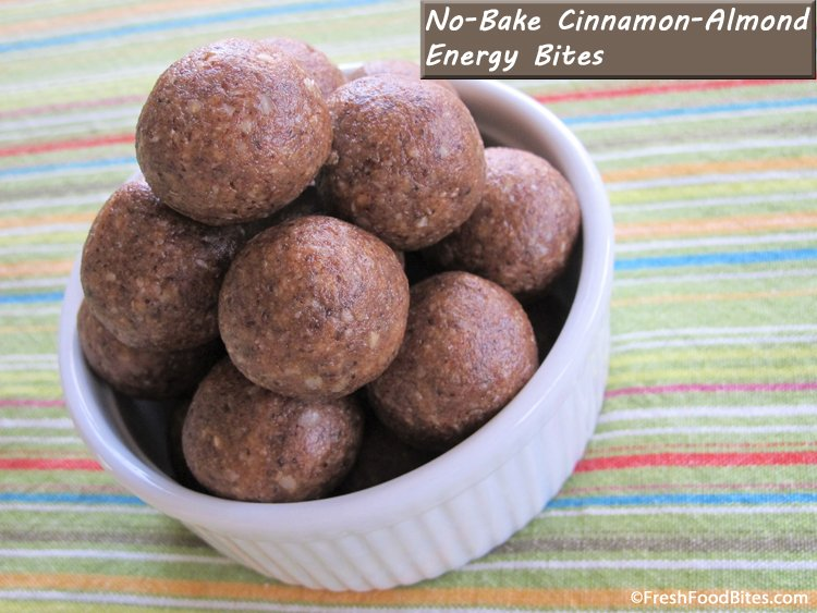 Cinnamon, almonds and naturally sweet dates combine for a sweet treat that's loaded with nutrition. Kids love these energy bites for a quick, healthy snack.