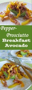This veggie-packed, healthy Pepper-Prosciutto Breakfast Avocado is a great way to start your day. It's flavorful, satisfying, and will keep you going all morning long because of the heart-healthy, fiber-rich avocado. Plus, it's quick and easy