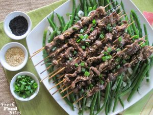 Family-friendly Grilled Sesame Sirloin Kabobs with Sticky Sauce are a fun way to serve economical beef sirloin. The Sticky Sauce is sweet and savory with a little kick, which compliments the beef perfectly. With a grilling time of just 2 to 3 minutes for the kabobs, it's quick to get these flavorful kabobs on the table.
