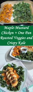 Nutrient-rich kale and sweet potatoes combine in this Maple-Mustard Chicken with One Pan Roasted Veggies and Crispy Kale for a healthful meal that's sophisticated enough to serve dinner guests and family-friendly enough to make for a weeknight meal. The kale crisps up on one side of a roasting pan while the sweet potatoes and shallots soften and brown into succulence on the other side of the pan. The chicken is quick and easy, with a flavorful pan sauce whisked in at the end.