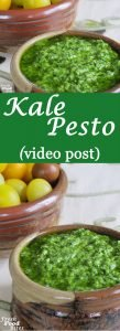 Simple to make and full of flavor, use fresh kale to make Kale Pesto for use in all the ways you love using traditional basil pesto. Whether you toss it with pasta, spaghetti squash, or roasted cauliflower, or use it as a stuffing or topper for chicken or fish, kids and adults will like the big, bold flavor it adds.