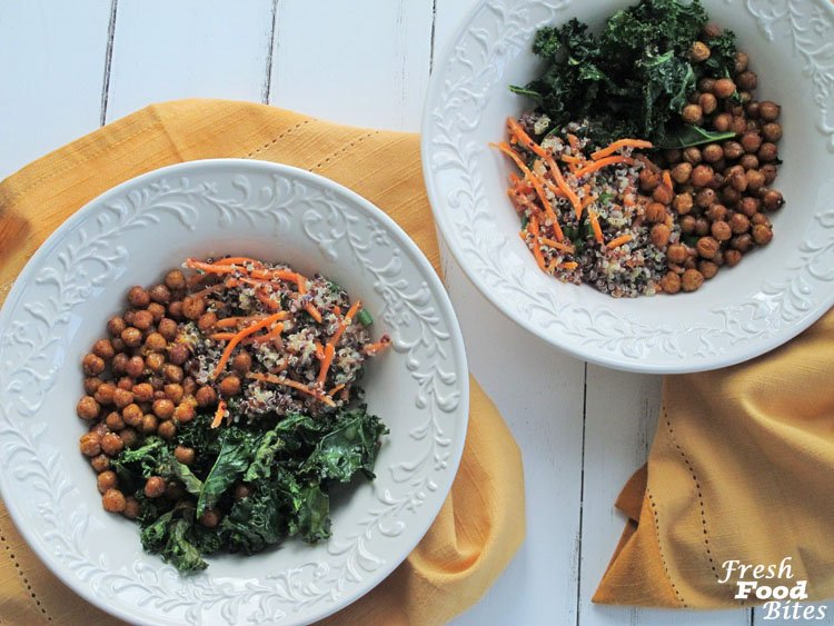 With a fresh mix of ultra-healthy ingredients and a variety of textures and flavors, these Crispy Kale and Quinoa Bowls with Roasted Chickpeas are anything but boring. From the chili spiced chickpeas to the lemon-orange dressing, each bite is a celebration of well-matched flavors. These bowls are filled with quinoa, chickpeas, and kale, making them the perfect meal to toss together you're in need of a heavy dose of good nutrition.