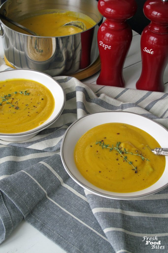 If you love butternut squash, give this 5 Ingredient Butternut Squash-Celery Root Soup a try. It's savory, velvety smooth and creamy and will warm you up on a cold winter day. Don't let the celery root scare you away – it tastes like a milder version of celery, but the texture is nothing like celery once it's cooked. Plus, it's full of health benefits too!