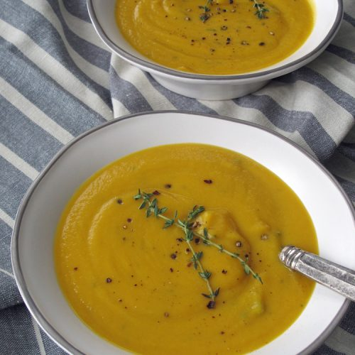 *If using a regular blender, blend soup in two or three batches, depending on how much your blender holds. The blender should not be more than about half full before starting the blender. You may need to cool the soup mixture more than 10 minutes if your blender isn't able to blend hot mixtures. NOTE: I don't count olive oil, salt, or pepper in the ingredient count since these are pantry items that everyone should have in their kitchen.