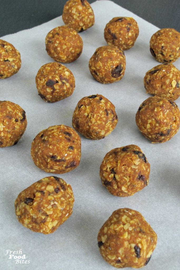 Looking for a healthy, packable snack for your next road or plane trip? Make these quick and easy Gluten-Free No-Bake Oatmeal-Raisin Pumpkin Energy Bites. They are loaded with energy-boosting ingredients that will help you feel fueled and focused longer. Plus, they have way less sugar than typical granola bars because they are sweetened only with finely chopped raisins and have no added sugar.