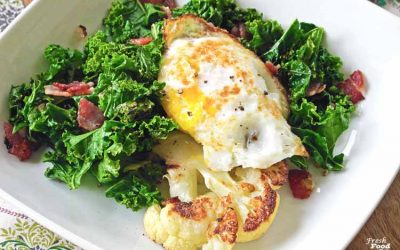 Roasted Cauliflower with Bacon Kale and Fried Egg (5 Ingredient Brunch Recipe)
