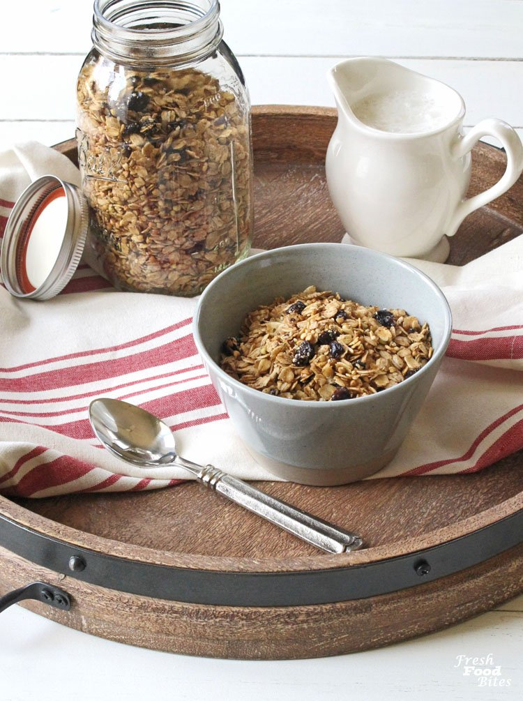 Granola doesn't have to be boring just because you have an allergy to nuts! With this Crunchy Nut Free Granola Recipe, you all the crunchy, lightly sweetened, cinnamon-flavored goodness you could ever want from granola. Plus, it's quick and easy to make!