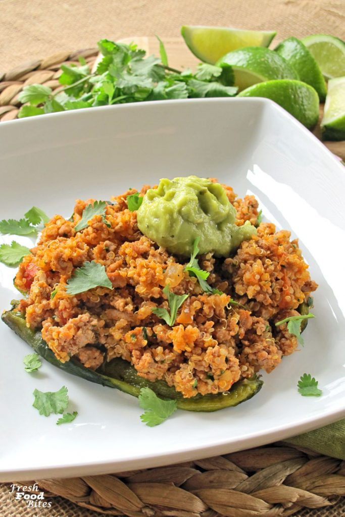 Try these Turkey and Quinoa Stuffed Poblano Peppers next time you are in the mood for Mexican food but don't want the same old tacos (not that tacos really ever get old, right?!?). Stuffed with quinoa, turkey, salsa and spices, these stuffed peppers are full of flavor and nutrition. Plus, the recipe has a short ingredient list, so they don't take forever to make!