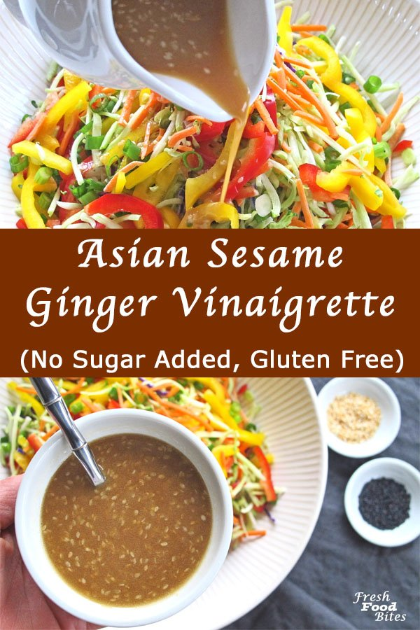 Making your own Asian Sesame Ginger Vinaigrette is not only easy, but WAY healthier than using bottled Asian dressing. It's gluten free, dairy free, and has no added sugar. You can toss it with your favorite greens, coleslaw mix or broccoli slaw for a simple, healthy salad, or use it as a marinade or sauce for your favorite meat, chicken, or seafood.