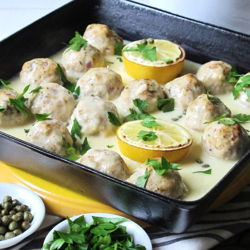 This easy Dairy Free Chicken Piccata Meatballs recipe has everything you love about chicken piccata without the dairy and gluten! That's right, it's a gluten free and dairy free recipe, but don't worry, the sauce is creamy and flavorful with just the right amount of lemon and capers. The simple chicken meatballs are broiled so they get a nice browned color. While the meatballs cook, you will make the sauce. It all comes together in just over 30 minutes!