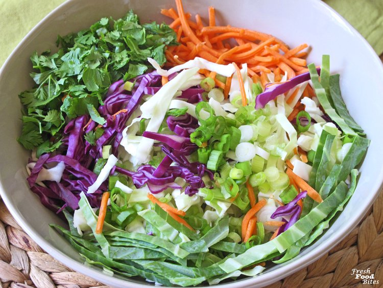 For a fresh, healthy twist on coleslaw, make this dairy free and gluten free Cilantro-Lime Cabbage Coleslaw recipe. It's loaded with veggies, has no added sugar, and pairs well with most any recipe you want to serve it with. From fish tacos, to grilled chicken, to pulled pork sandwiches, this mayonnaise free and oil free coleslaw fits in well for a fresh summer salad.