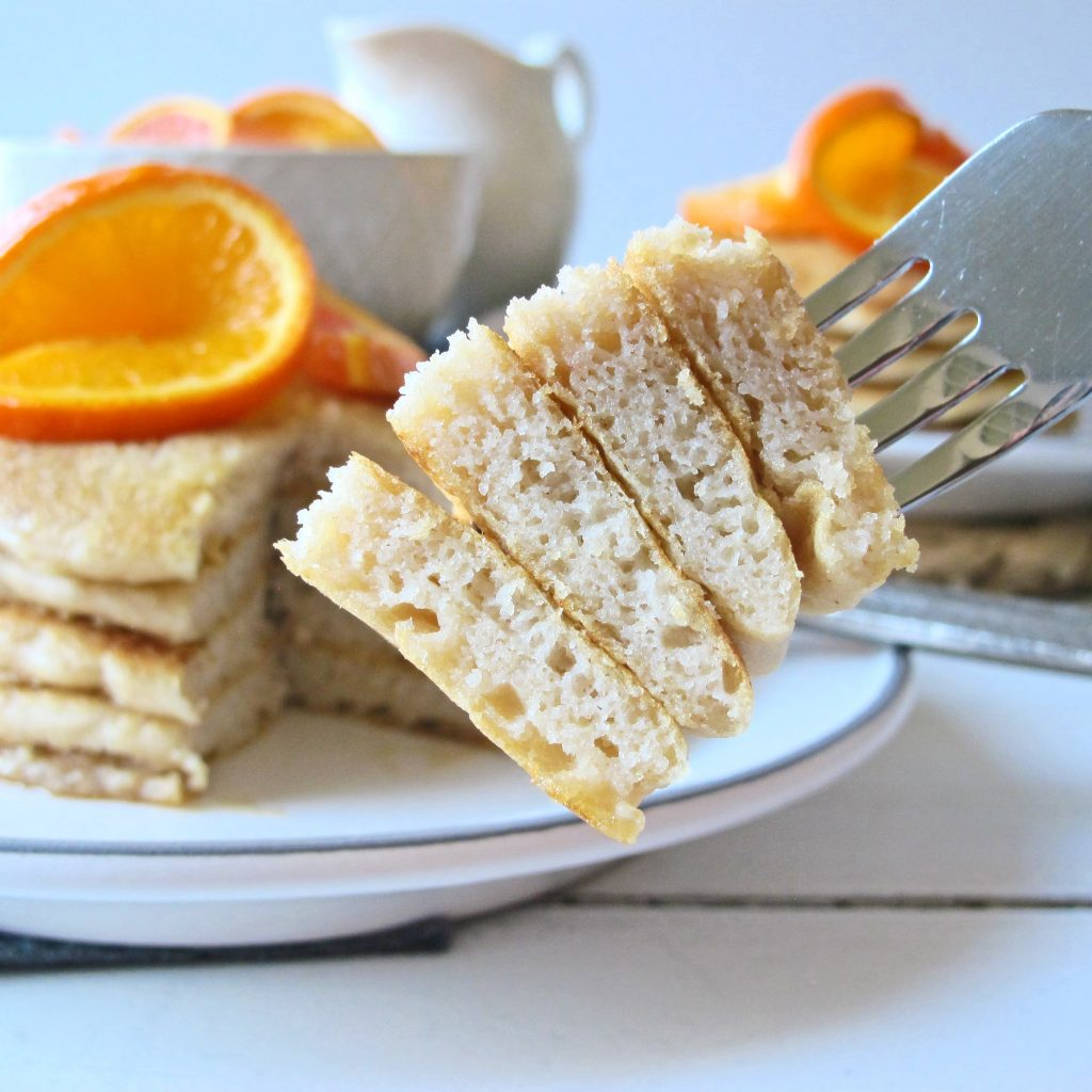 You'll need just two flours, and no other obscure ingredients to make these light and fluffy Gluten Free Dairy Free Pancakes! The pancake batter is quick and easy to make, and if you're more into waffles than pancakes, you can use it to make waffles instead. These pancakes will quickly become a family favorite and turn breakfast into your favorite meal of the day!
